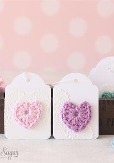mini crochet heart gift tags