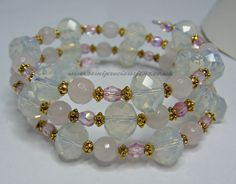 OP-RQ-PB-WB Memory Wire Bracelet Faceted Opalite Rondelles 10 x 8 mm Faceted Rose Quartz 6 mm Pink AB Glass Beads & Gold Coloured Spacers £12.50 plus.p&p www.semipreciousjens.co.uk