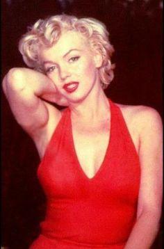 Marilyn Monroe in red halter dress.