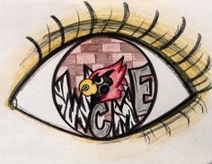 I drew this eye reflection using sharpies, color pencils and crayons for my elementary students as an example. Cardinal graffiti brick wall.