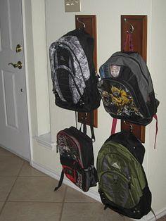 Ideas for diy bag hanger hooks entryway - DIY BAGS Backpack Wall, Backpack Hanger, Backpack Storage, Backpack Organization, Diy Backpack, Kid Organization, Organization Ideas, Diy Bags Hanger, Hanger Hooks