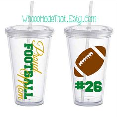 Personalized Tumbler - Proud Football Mom - acrylic cup with straw- BPA free Vinyl Tumblers, Acrylic Tumblers, Personalized Tumblers, Silhouette Vinyl, Silhouette Cameo Projects, Vinyl Crafts, Vinyl Projects, Cup With Straw, Fru Fru
