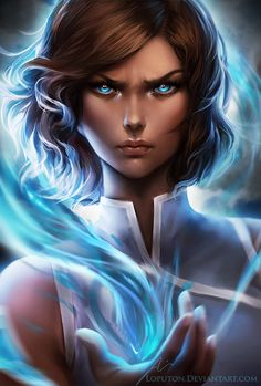 Korra by Loputon.deviantart.com on @DeviantArt.... Instead of avatar Korra this looks like a water bending Taylor Swift with brown hair! Love it though