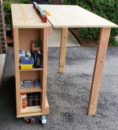 Folding Workbench | Ana White #WoodworkingFurniturePopularMechanics Workbench With Storage, Workbench Organization, Portable Workbench, Mobile Workbench, Folding Workbench, Workbench Ideas, Workbench Designs, Lumber Storage, Woodworking Diy Workbench