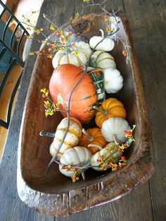 Fall trestle bowl with gourds and bittersweet