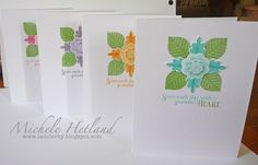 notecard set...light and pretty...layered flower medallion using Paper Trey Ink stamps...