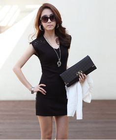 Korean Fashion Women Mini Dress Sleeveless Lace Splicing Clubwear Bodycon Vest Dress Black/White