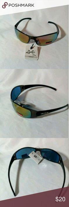 New Sports Sunglasses * Gunmetal Frames * Plastic Black Arms with Logo * Multi-Colored Lenses * Polycarbonate Lenses * Maximum Protection UV 400 CE * Blocks 100% UVA/UVB Accessories Sunglasses