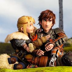 Hiccup  Astrid. I love how she looks at him. Just that amount of love and care. And just how she braids his hair without even realizing that she is doing it.