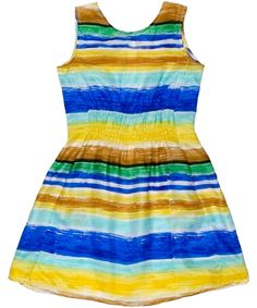 Blue and Yellow Pomelo Silk Dress, Maan | Liberty.co.uk