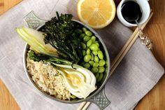 Roasted Broccoli & Bok Choy with Edamamae & Brown Rice #Vegan Busy Bowl