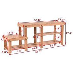 2 tier bamboo shoe bench seat boot storage rack shelf organizer entryway hallway