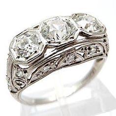 ART DECO ANTIQUE ENGAGEMENT RING THREE STONE OLD EUROPEAN CUT DIAMOND SOLID PLATINUM