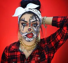 80 ideas to create the best Halloween nail decoration - My Nails Creepy Halloween Makeup, Pretty Halloween, Halloween Eyes, Clown Makeup, Chola Costume, Costume Makeup, Helloween Make Up, Creative Makeup Looks, Halloween Disfraces