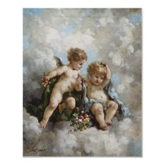 Cherubs in the Clouds by Charles Augustus Henry Print by corbisimages