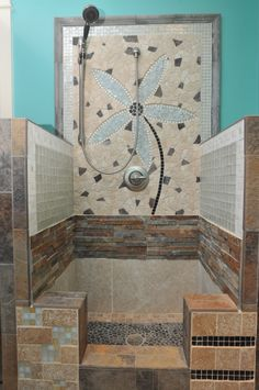 Cool example of creative use of leftover tile materials for a utility/dog shower!