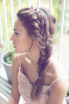 Soft style - Great for Bridesmaids with longer Hair. Loose french braid, into fishtail side ponytail.