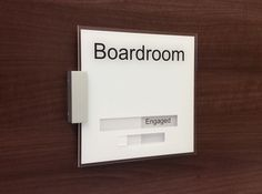 Designed for your Business Smart Boardroom SIgns with Sliders   Vacant & Engaged    http://www.de-signage.com/office_signs_for_doors.php