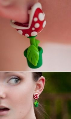 Super Mario Piranha Plant Earrings....i don't think i'd ever wear these but they are cool! haha