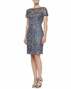 Mom of Bride dress?   Short Sleeve Embroidered Sheath Cocktail Dress, Charcoal by Sue Wong at Neiman Marcus.