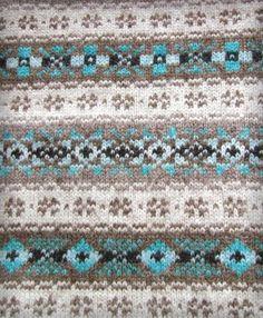 Shetland Knit Pattern in brown & sky blue
