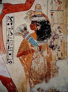 Ägyptische Malerei - Nebamuns Frau / ägypt. Wandmalerei