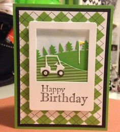 I love this little golf scene as an instant photo. The mini golf cart from Memory Box is so cute! I also love the argyle background. I made this card for my brother. Description
