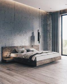 Minimal Interior Design Inspiration - Home Decor Design Modern Master Bedroom, Stylish Bedroom, Modern Bedroom Design, Master Bedroom Design, Minimalist Bedroom, Contemporary Bedroom, Industrial Bedroom Design, Industrial Bedroom Furniture, Modern Room