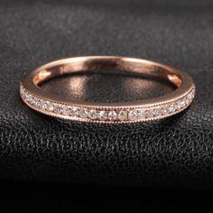 Half Eternity Band Milgrain .17ct Diamond 14K Rose Gold Wedding Anniversary Ring