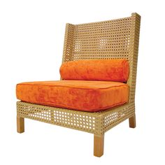 The Rhinebeck Highback Lounge Chair in Natural finish from Walters Wicker Exterior Collection.