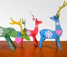 Lovely Festive Reindeers, Printable Paper Ornament Kit. Download Instantly These…