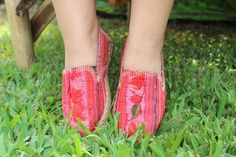 Little Girls Shoes in Pink Floral Hmong Embroidery Vegan by DekDoi