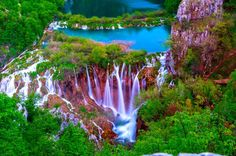 Plitvice National Park, Waterfalls This national park is open year-round. It is full of stunning lakes, gorgeous waterfalls and unique caves. To view the waterfalls, you can walk on foot or take a scenic boat ride. Experience the thrill of 16 lakes falling into one another creating a series of waterfalls and cascades.