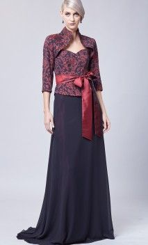 Tinuta eleganta de seara compusa din rochie in doua piese cu motive florale si bolero tip tunica - Magazin Online Agnes Toma