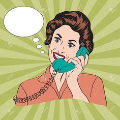Popart Mujer Retro Comic Hablando Por Teléfono, Ilustración Vectorial Ilustraciones Vectoriales, Clip Art Vectorizado Libre De Derechos. Pic 25317169.