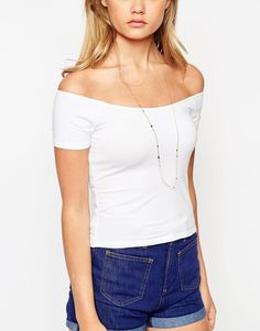 Image 3 ofASOS The Off Shoulder Top With Short Sleeves