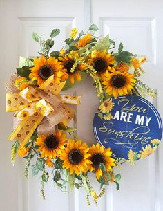 You Are My Sunshine Grapevine Wreath, Yellow Sunflower Door Wreath, Sunflower Front Door Wreath, Spring Sunflower Decor, Grapevine Add some sunshine to your front door or wall this spring with a pretty sunflower grapevine door wreath. Large yellow/gold life like Sunflowers and