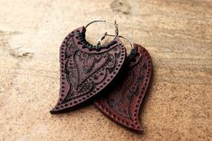 India Henna Leather Earrings by siamic on Etsy, €24.00
