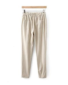 Light Coffee Stripes Elastic Waistband Loose Pants TR1110053