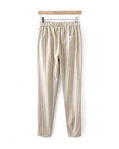 Light Coffee Stripes Elastic Waistband Loose Pants TR1110053