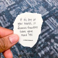 """👁🗨 If it's out of your hands, it deserves freedom from your mind too.  """"affirm: I'm not going to rush anything. I'm not going to stress out or worry about how things will work out for me. Instead of overthinking, I will align my faith with divine timing and trust that everything that belongs in my life is making its way towards me"""" @idillionaire 