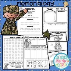 Activities for Memorial Day! Memorial Day Activities, Hip Hip, Word Work, Inspire Others, Blogging For Beginners, Grade 1, Learning Activities, Dream Big, Memories