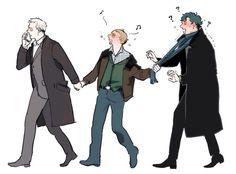 Greg Lestrade-Sherlock Holmes-John Watson