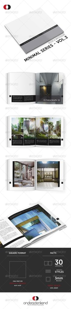Portfolio Brochure Template - Vol.9 #GraphicRiver Create a modern and elegant book or brochure with this square sized template based on the Minimal Series. It even works well for portfolios and catalogues. Enjoy! FEATURES 300 DPI, CMYK,