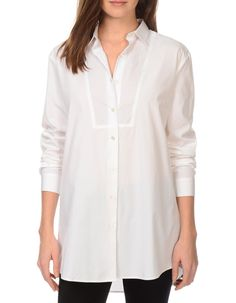 """Cotton Poplin shirt with bib detailing  Content and Care 100% Cotton machine wash cold gentle cycle , tumble dry low remove promptly  Our model is 5'10"""" and i"""