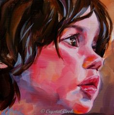 Acrylic Portrait Painting Original Fine Art Painterly Expressive Colorful Young Girl 6 x 6. $65.00, via Etsy.