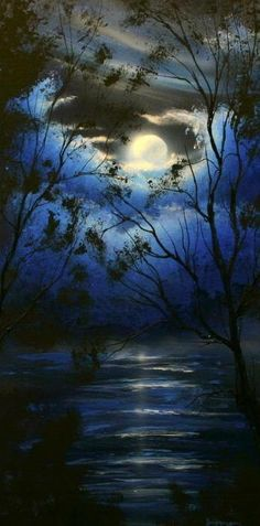 Moon with blue clouds and trees painting idea inspiration.