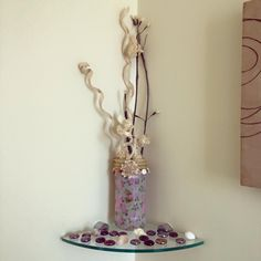 Decorated pasta sauce jar with decopatch paper, an anchor charm and sisal rope. Lovely cheap way of brightening up our downstairs bathroom.