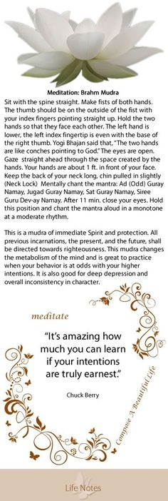Meditation: Braham Mudra    Yoga, meditation, intentions, mantra, inspiration, quotes