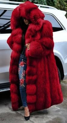 Black Fur Coat, Red Fur, Faux Fur Hooded Coat, Faux Fur Coats, Faux Fur Jacket, Fur Coat Outfit, Warm Outfits, Fur Fashion, Jackets For Women